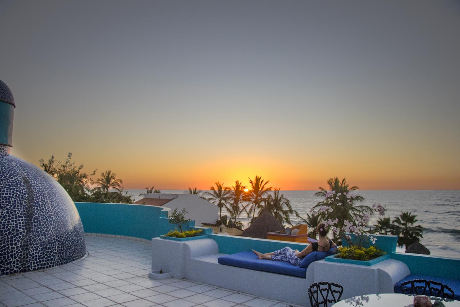 Terrace at Casa Aqua Bella - Vacation Rental - San Pancho, Nayarit, Mexico